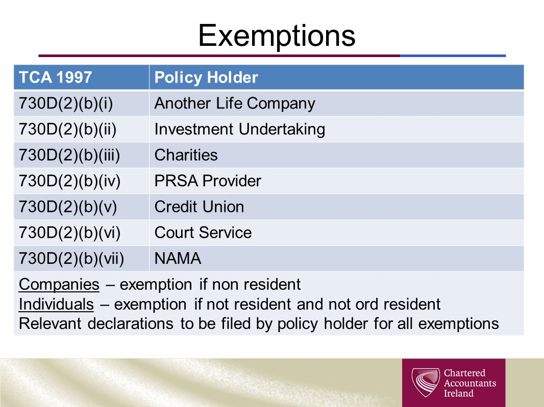 Exemptions TCA 1997 Policy Holder 730D(2)(b)(i) Another Life Company
