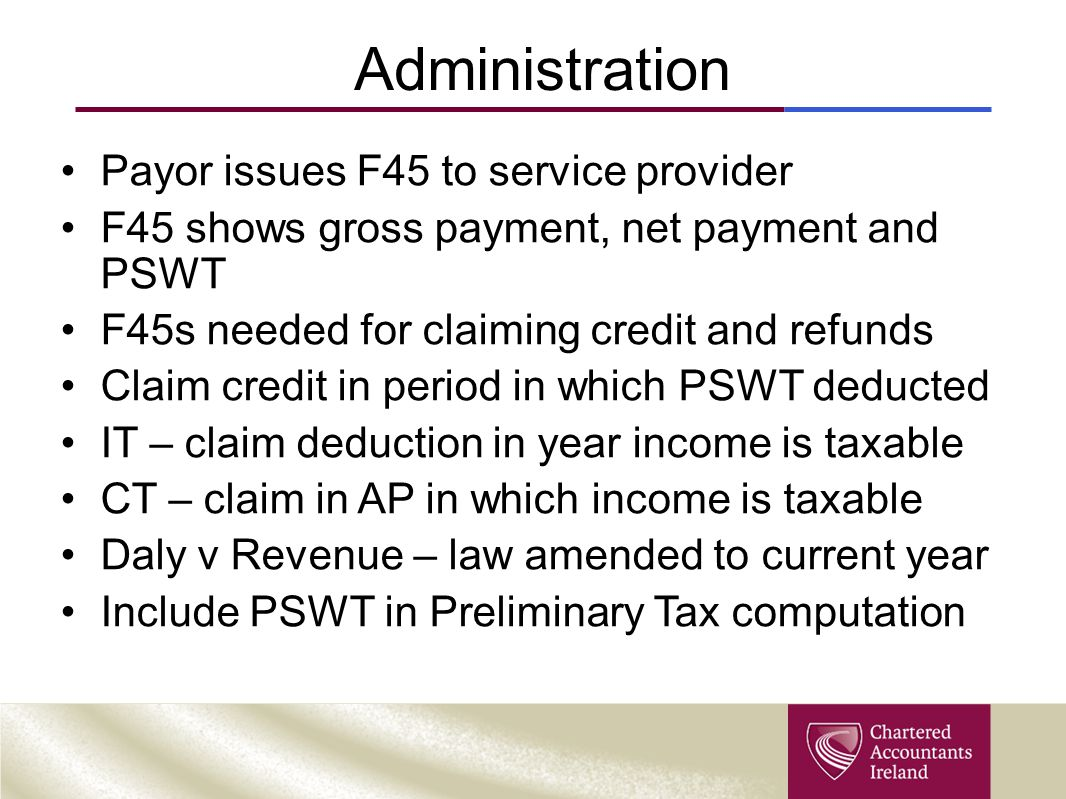 Administration Payor issues F45 to service provider
