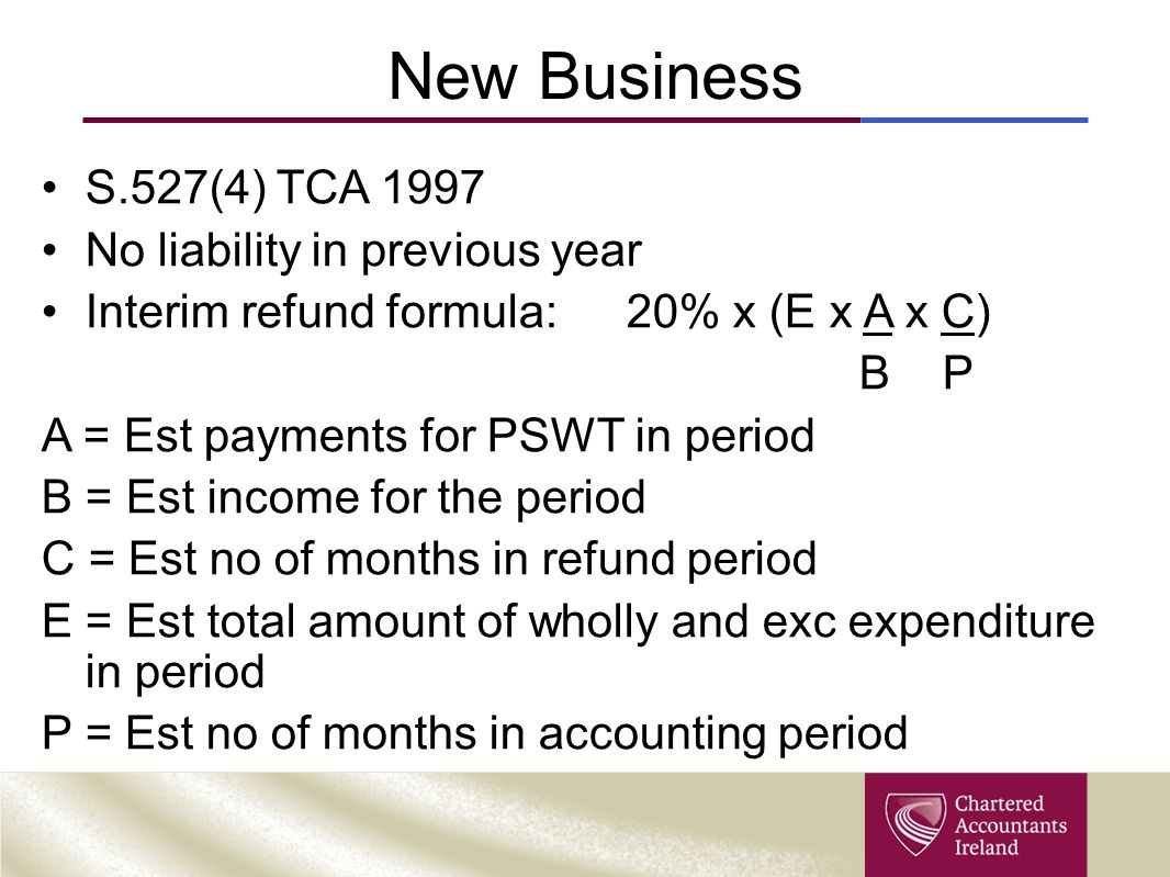 New Business S.527(4) TCA 1997 No liability in previous year