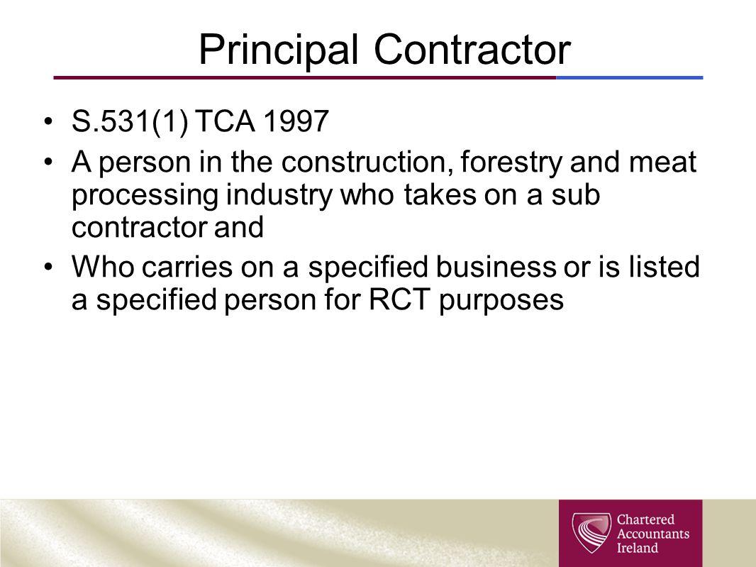 Principal Contractor S.531(1) TCA 1997