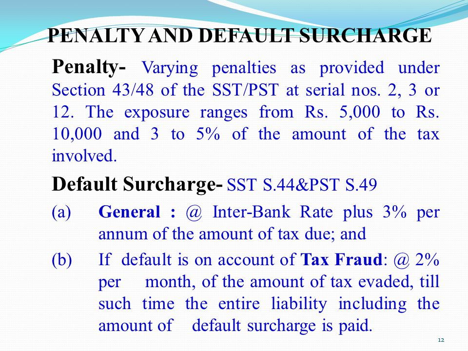 PENALTY AND DEFAULT SURCHARGE