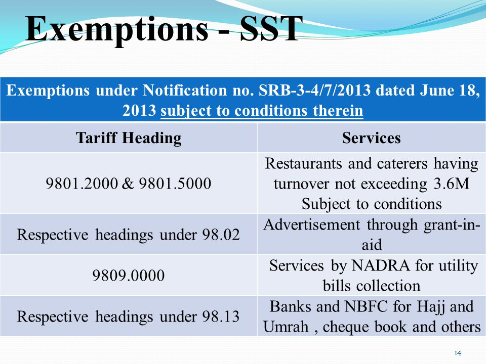 Exemptions - SST Exemptions under Notification no. SRB-3-4/7/2013 dated June 18, 2013 subject to conditions therein.
