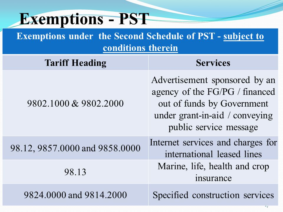Exemptions - PST Exemptions under the Second Schedule of PST - subject to conditions therein. Tariff Heading.