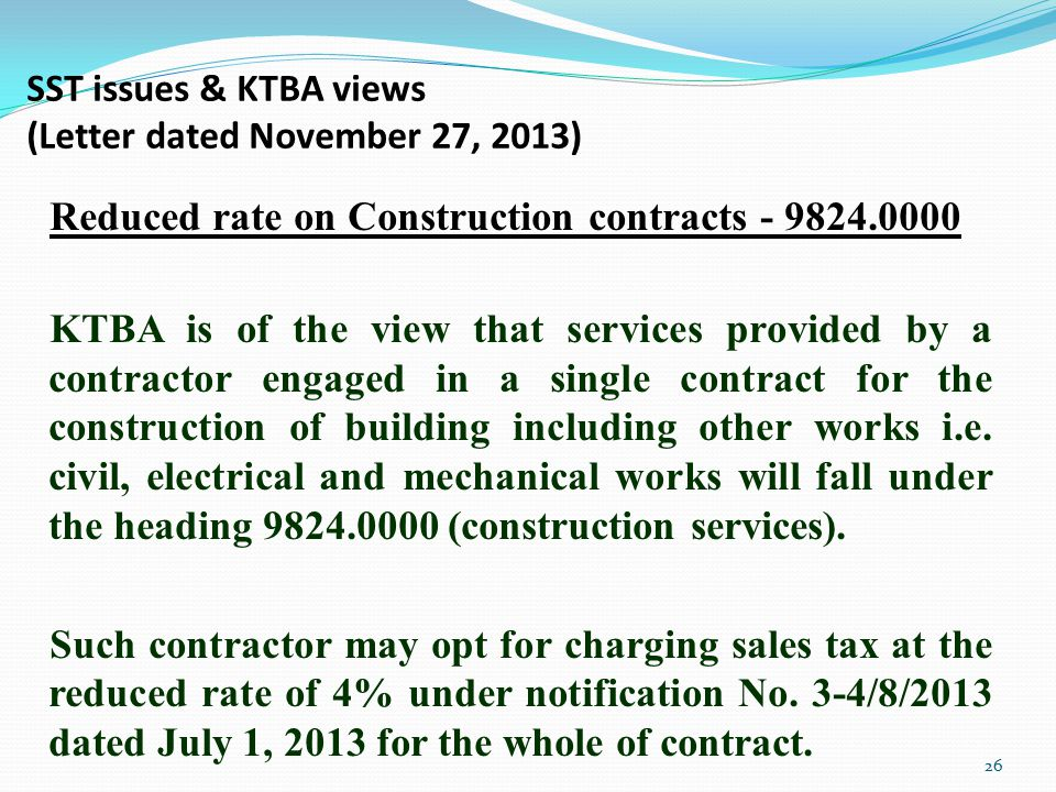 SST issues & KTBA views (Letter dated November 27, 2013)