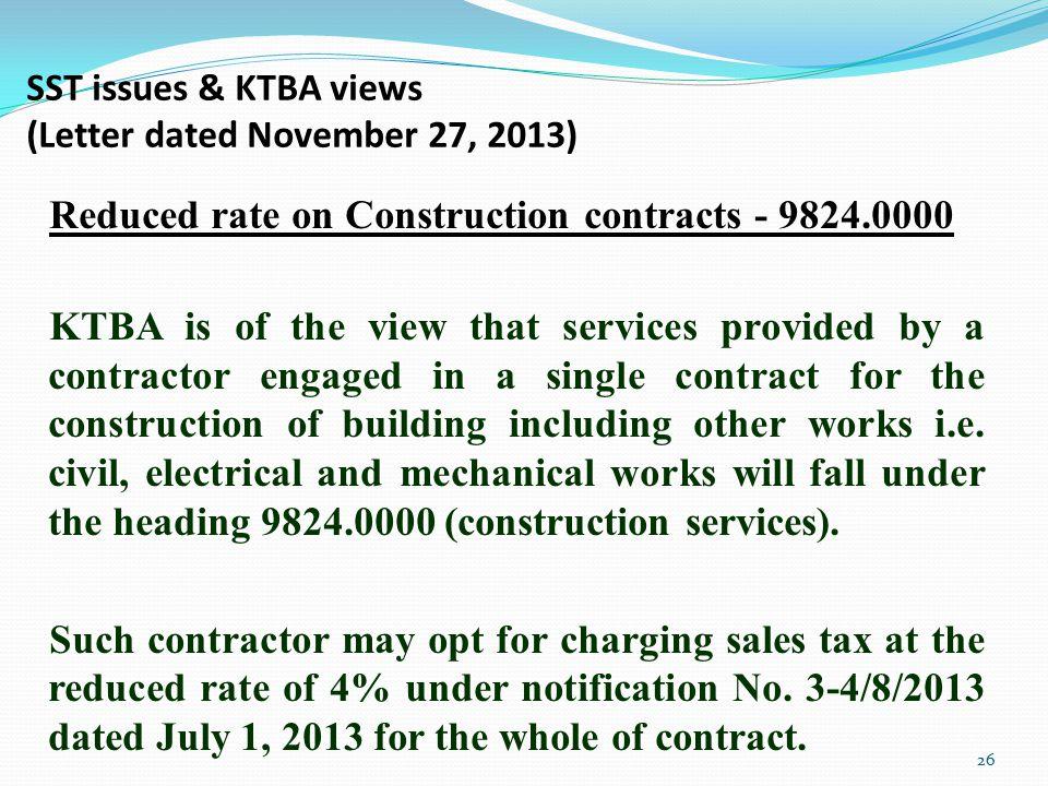 SST issues & KTBA views (Letter dated November 27, 2013)