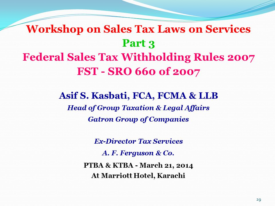 Workshop on Sales Tax Laws on Services Part 3