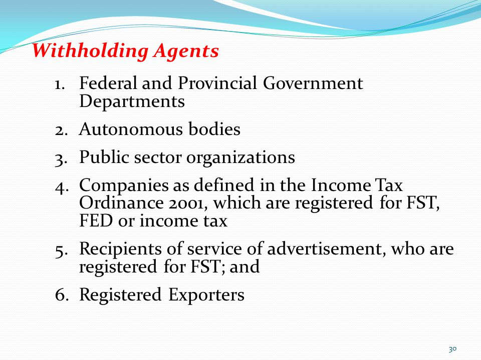 Withholding Agents Federal and Provincial Government Departments