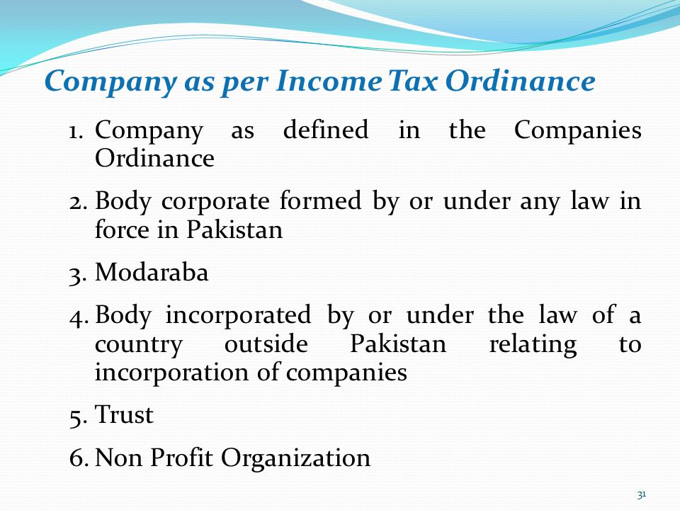 Company as per Income Tax Ordinance