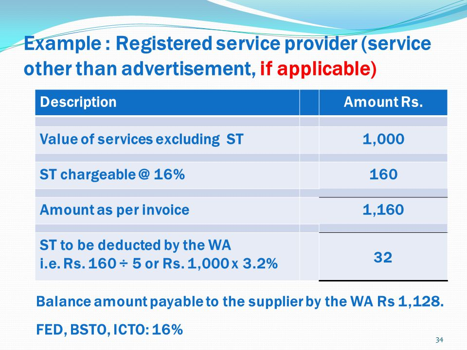 Example : Registered service provider (service other than advertisement, if applicable)