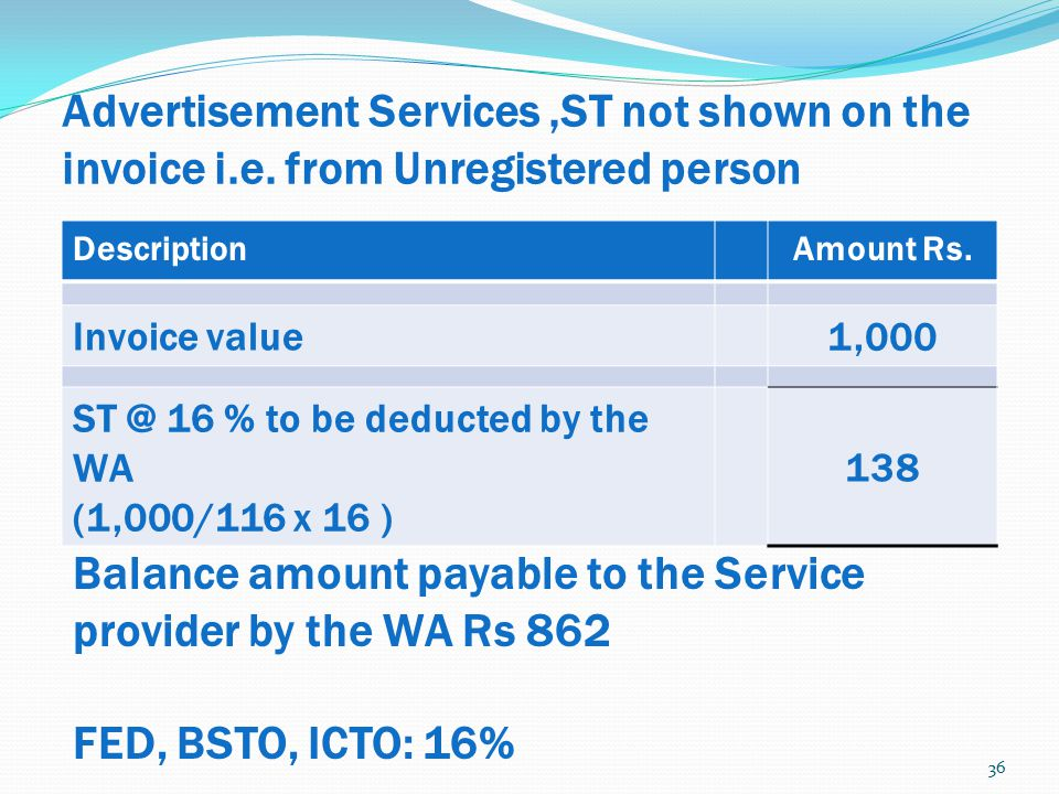 Balance amount payable to the Service provider by the WA Rs 862