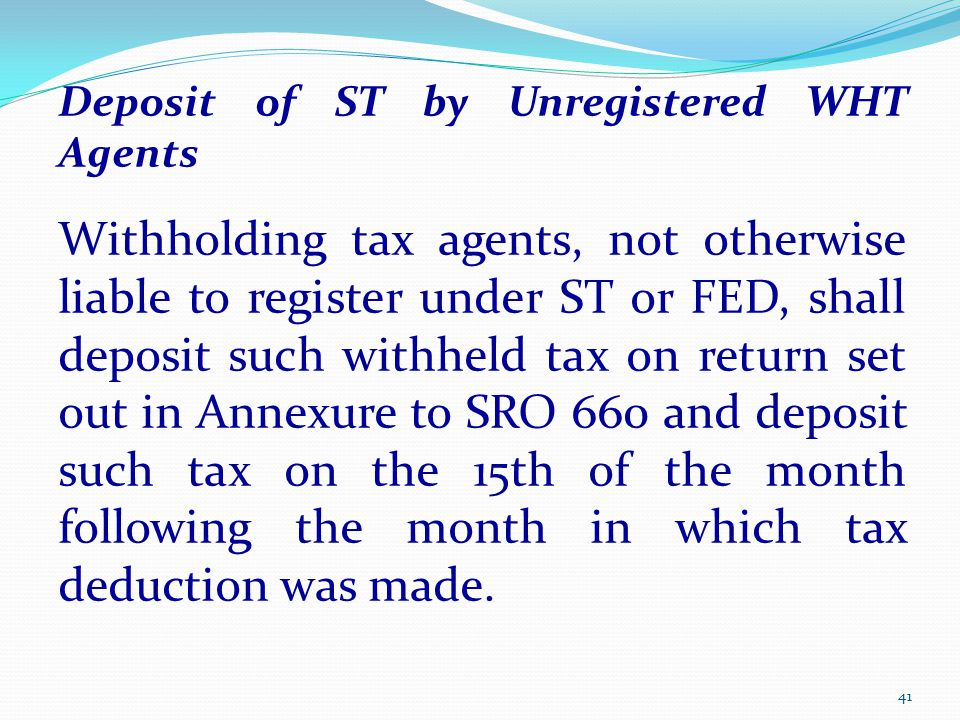 Deposit of ST by Unregistered WHT Agents