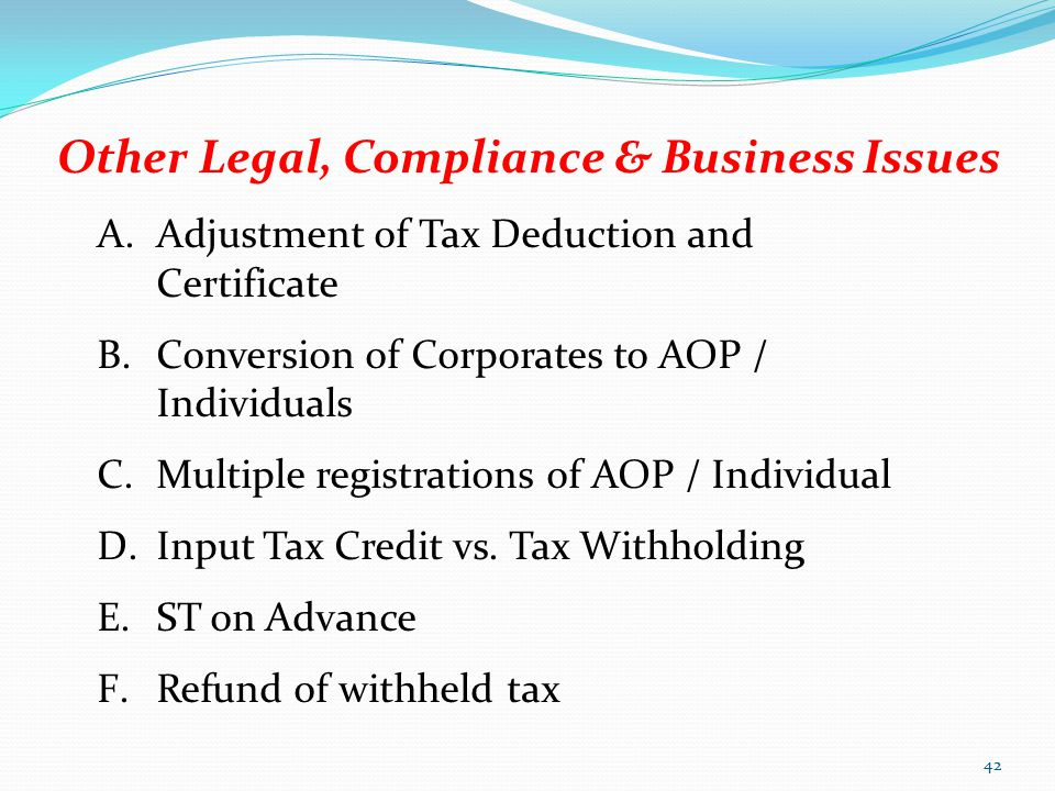 Other Legal, Compliance & Business Issues