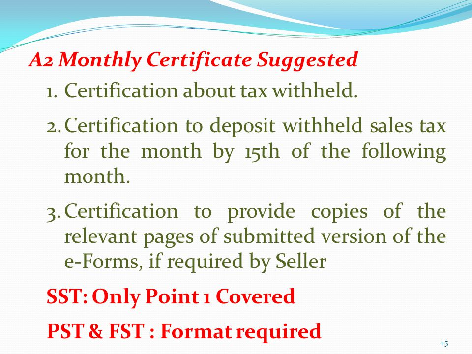 A2 Monthly Certificate Suggested