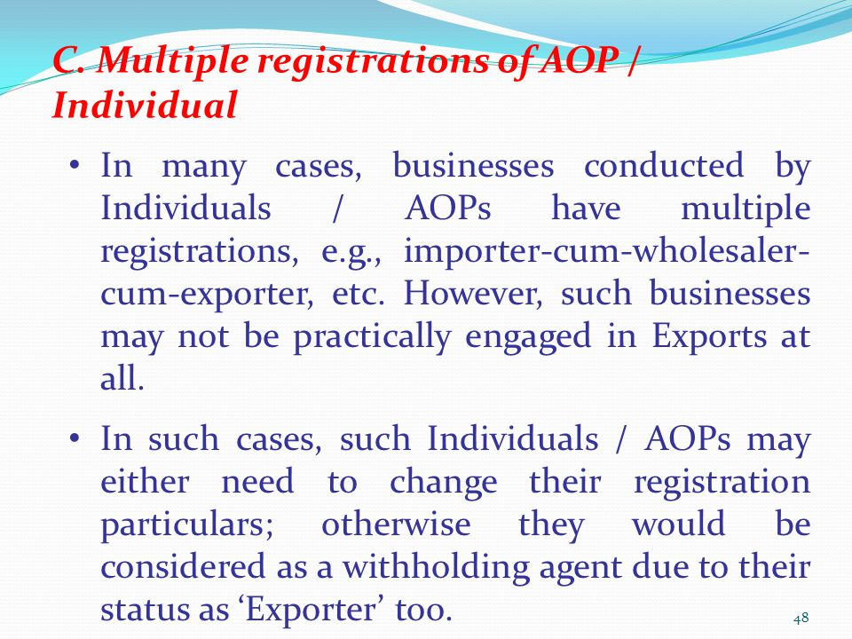 C. Multiple registrations of AOP / Individual