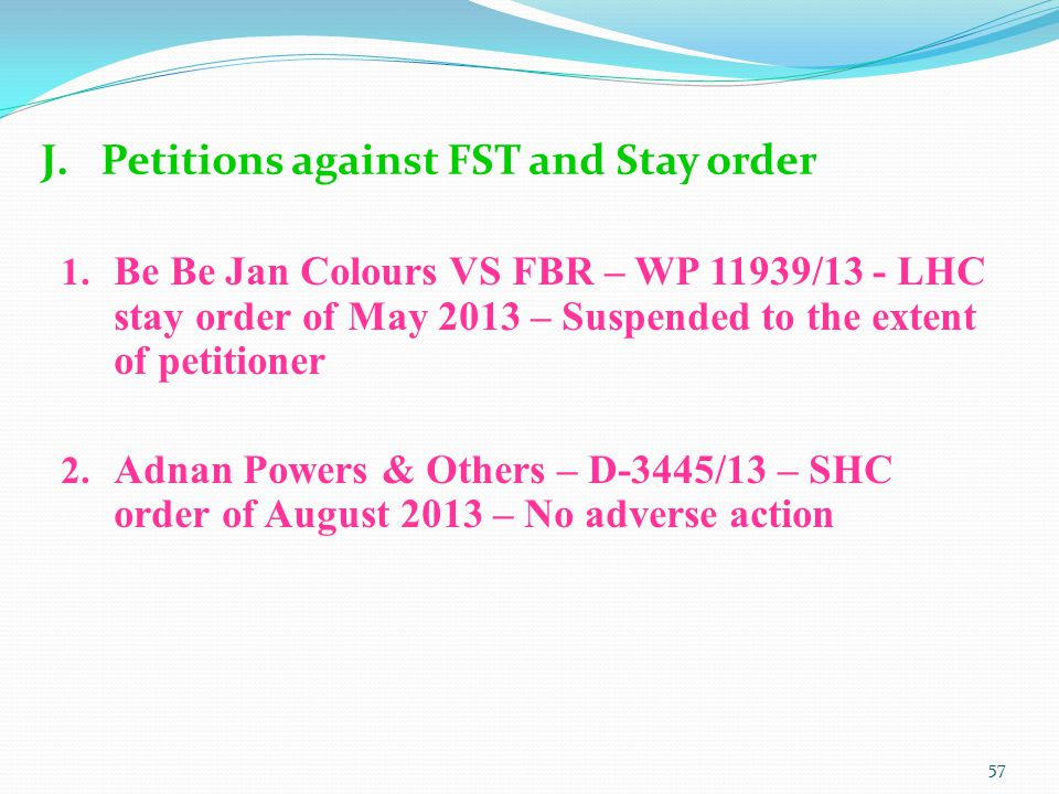 Petitions against FST and Stay order