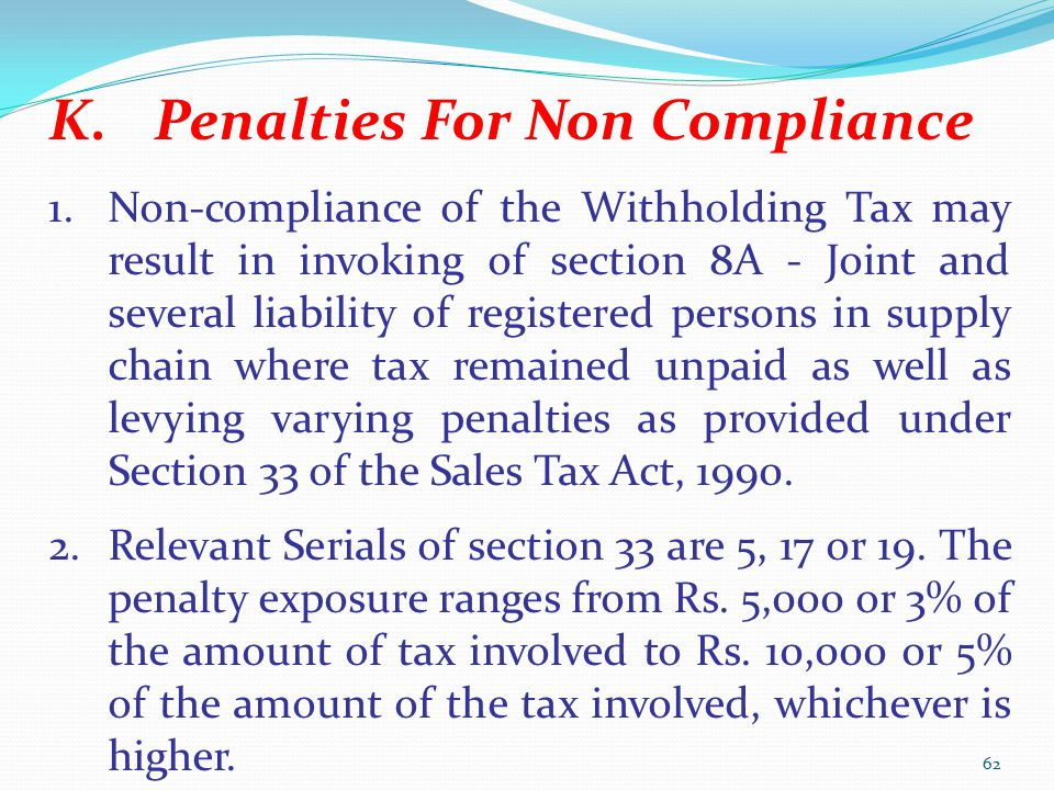Penalties For Non Compliance