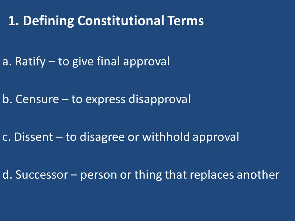 1. Defining Constitutional Terms