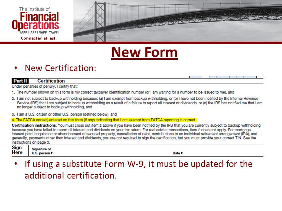 New Form New Certification: