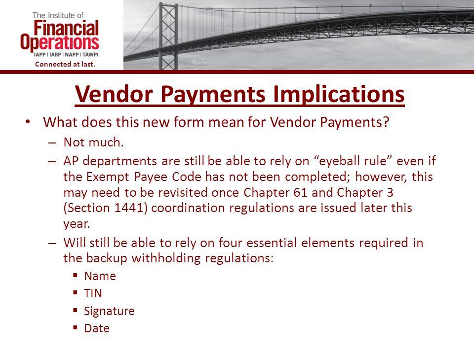 Vendor Payments Implications
