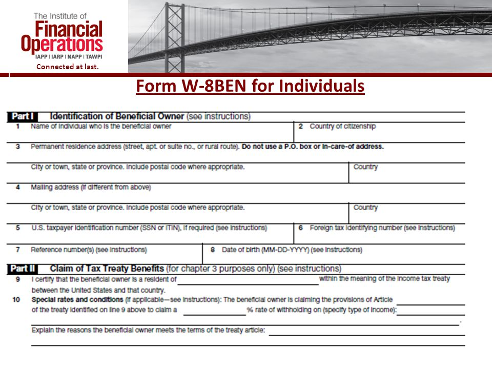 Form W-8BEN for Individuals