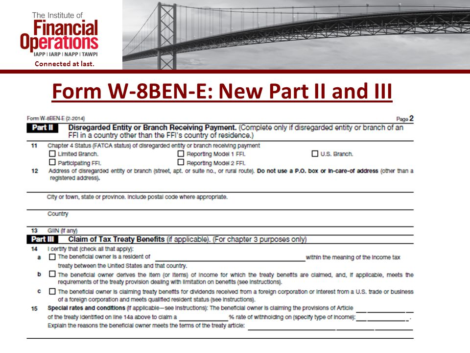 Form W-8BEN-E: New Part II and III