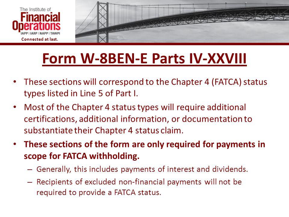 Form W-8BEN-E Parts IV-XXVIII