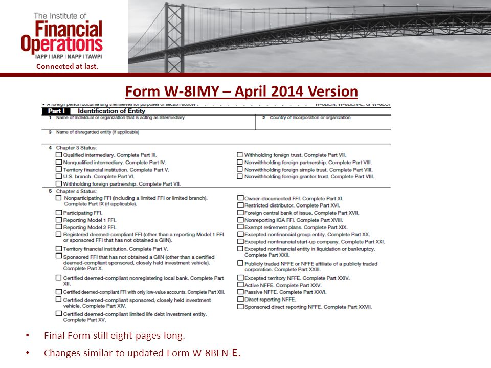 Form W-8IMY – April 2014 Version