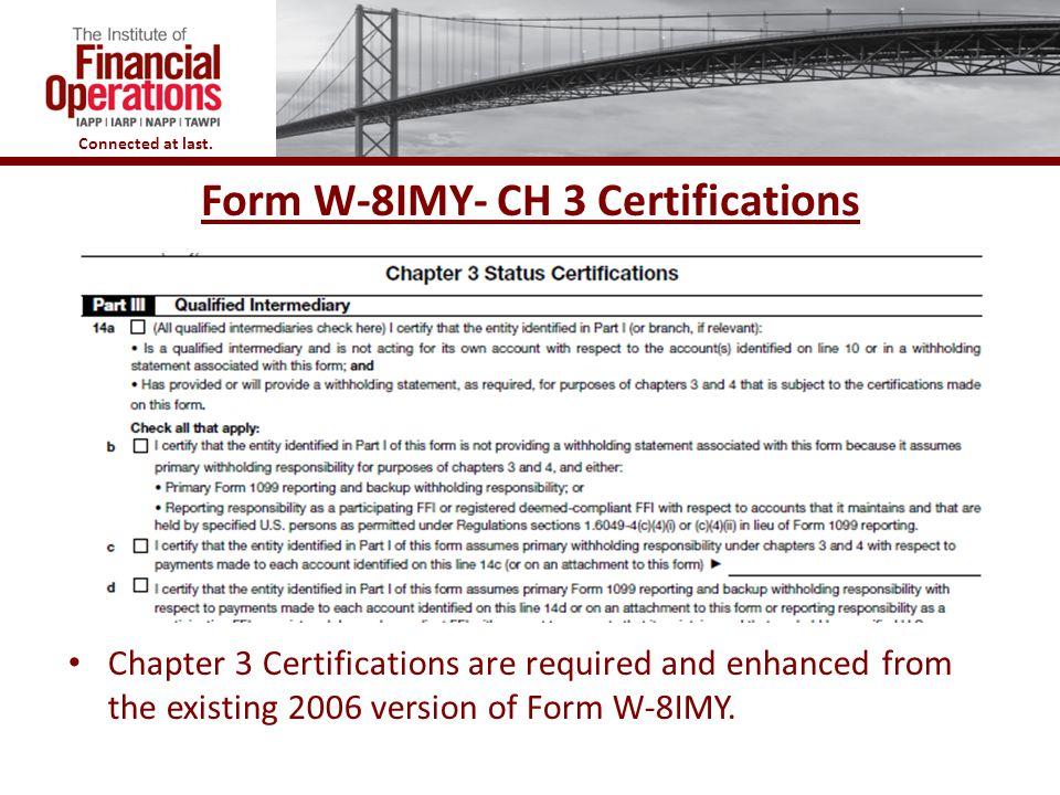Form W-8IMY- CH 3 Certifications