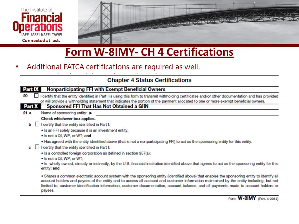 Form W-8IMY- CH 4 Certifications