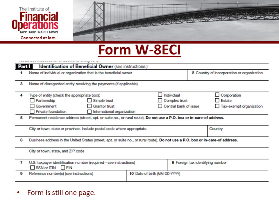 Form W-8ECI Form is still one page.