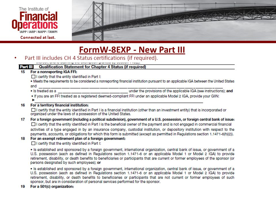 FormW-8EXP - New Part III