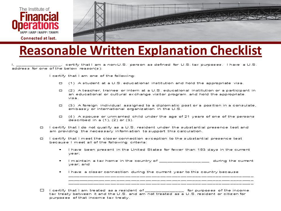 Reasonable Written Explanation Checklist