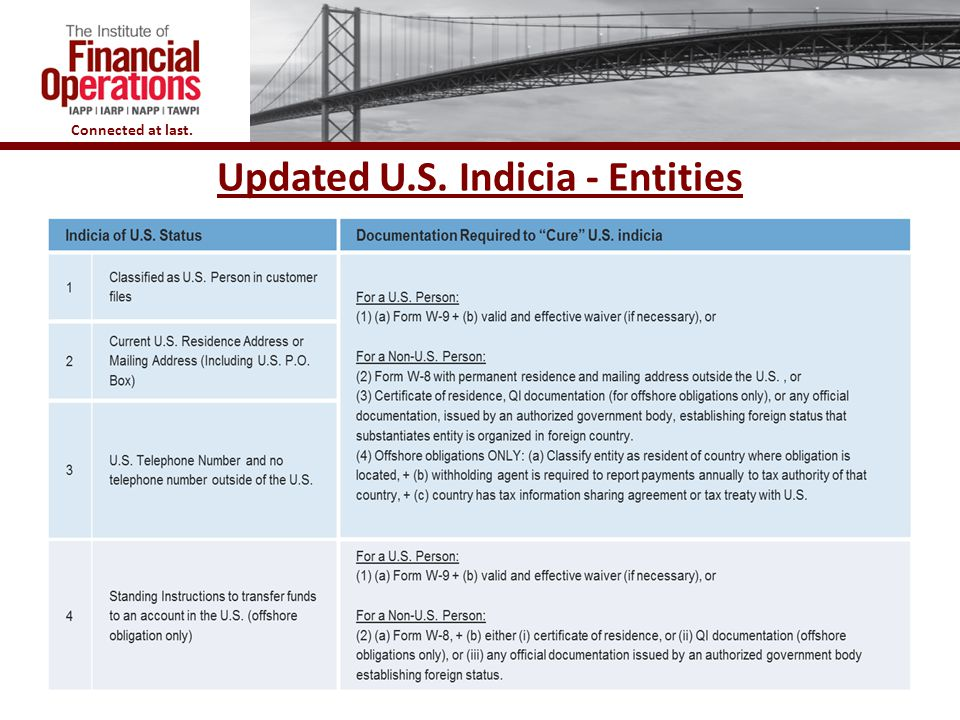 Updated U.S. Indicia - Entities