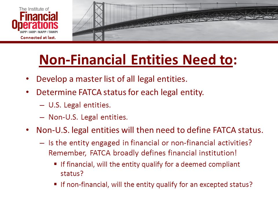 Non-Financial Entities Need to: