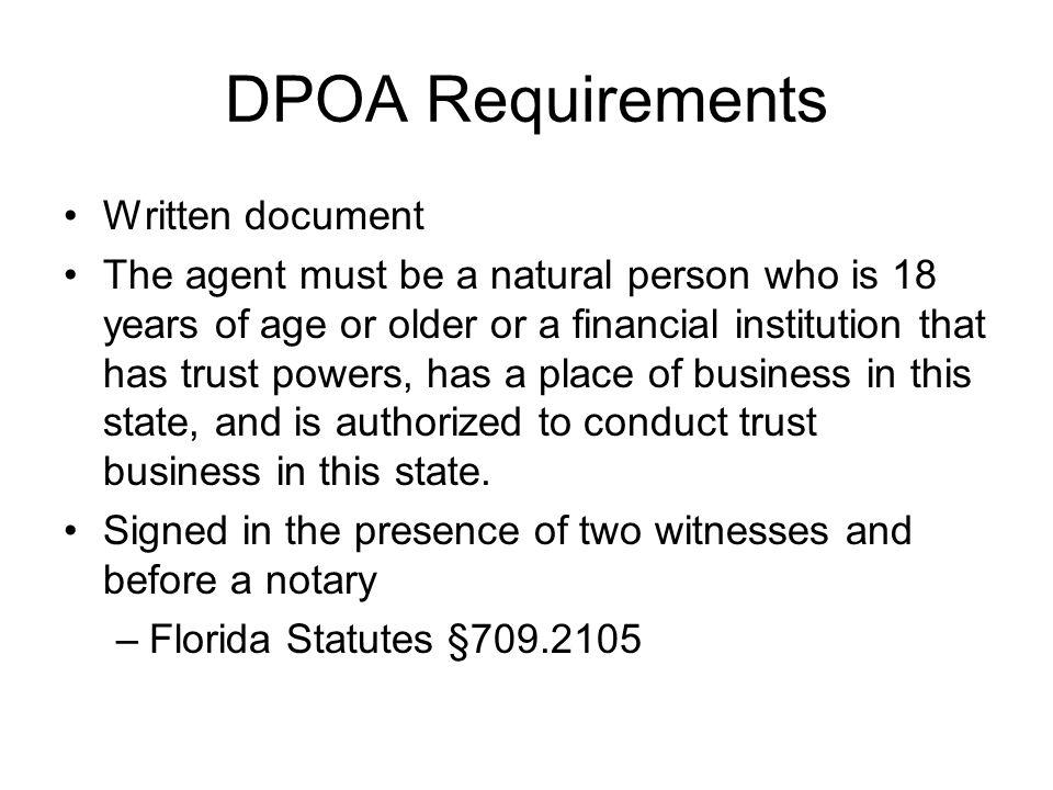 DPOA Requirements Written document