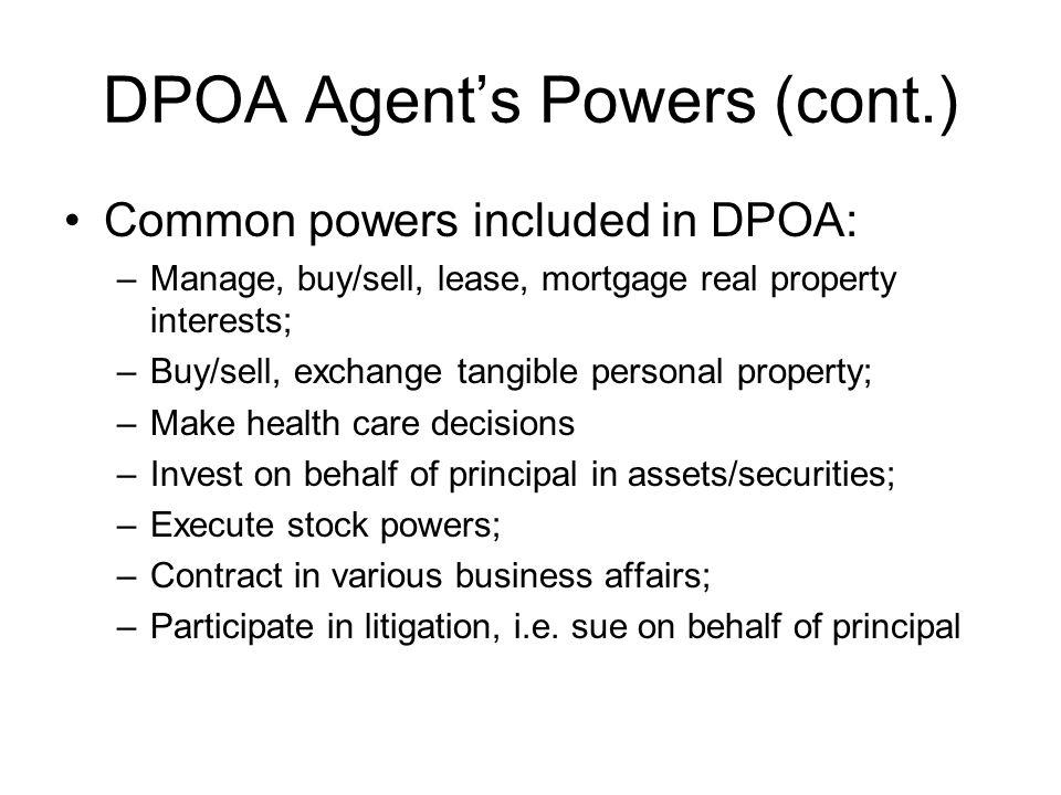 DPOA Agent's Powers (cont.)