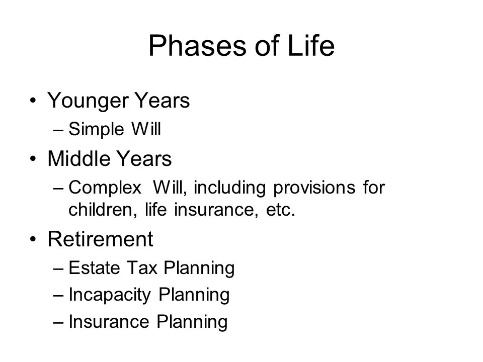 Phases of Life Younger Years Middle Years Retirement Simple Will