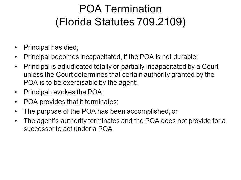 POA Termination (Florida Statutes 709.2109)