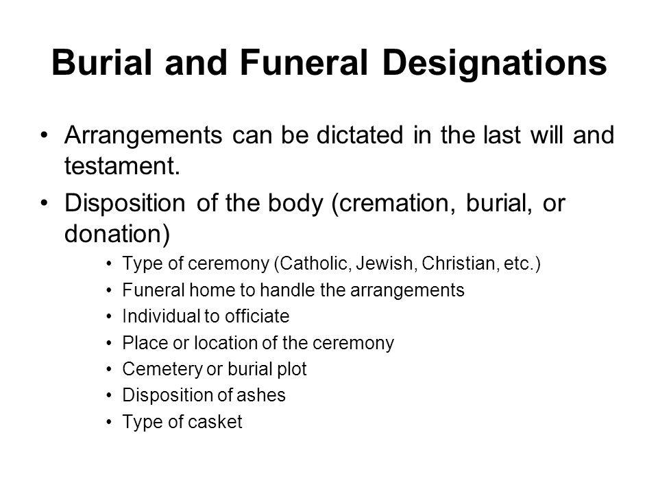 Burial and Funeral Designations