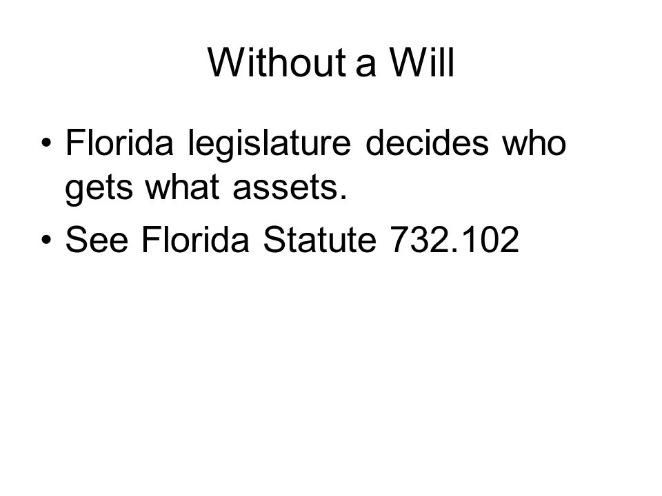 Without a Will Florida legislature decides who gets what assets.