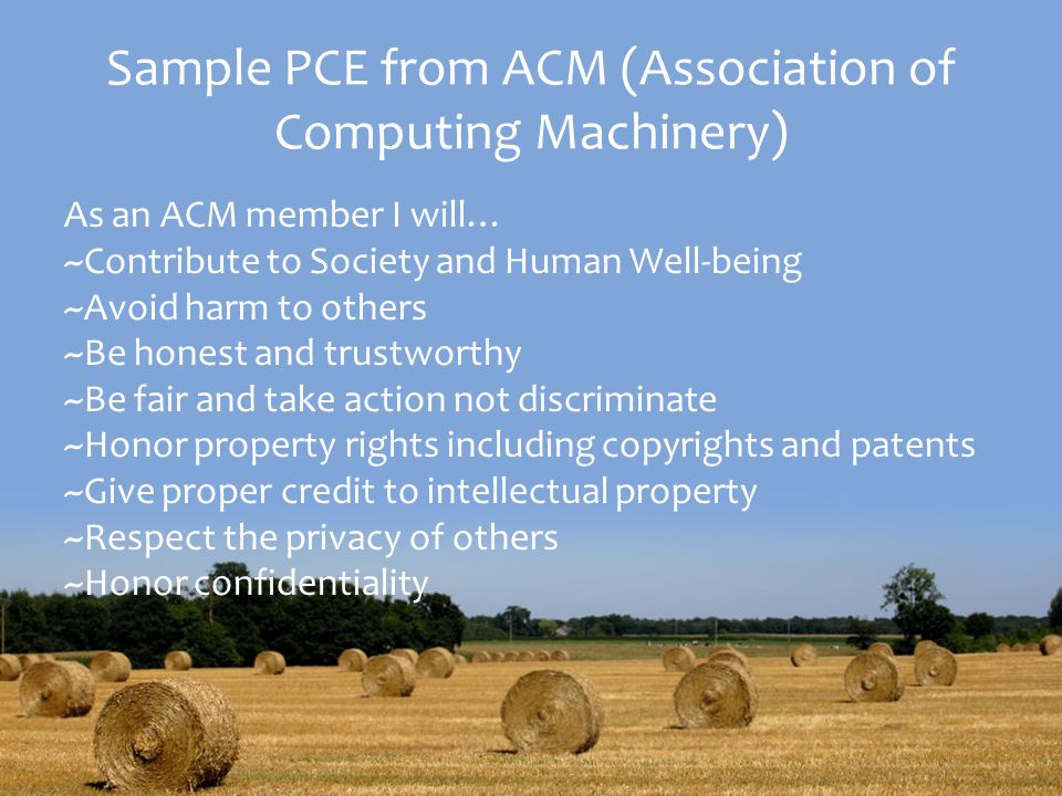 Sample PCE from ACM (Association of Computing Machinery)