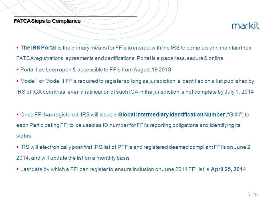 FATCA Steps to Compliance