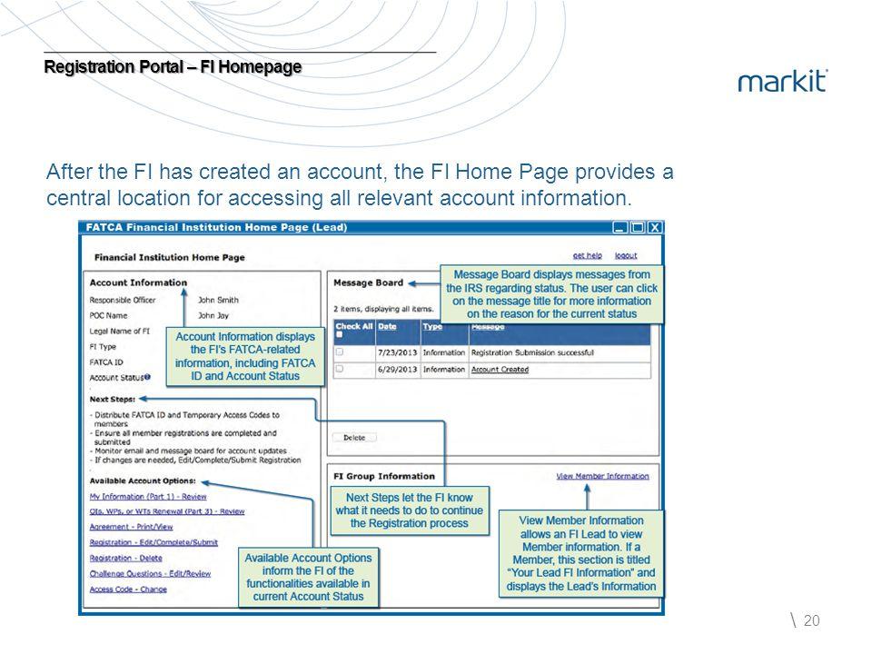 Registration Portal – FI Homepage