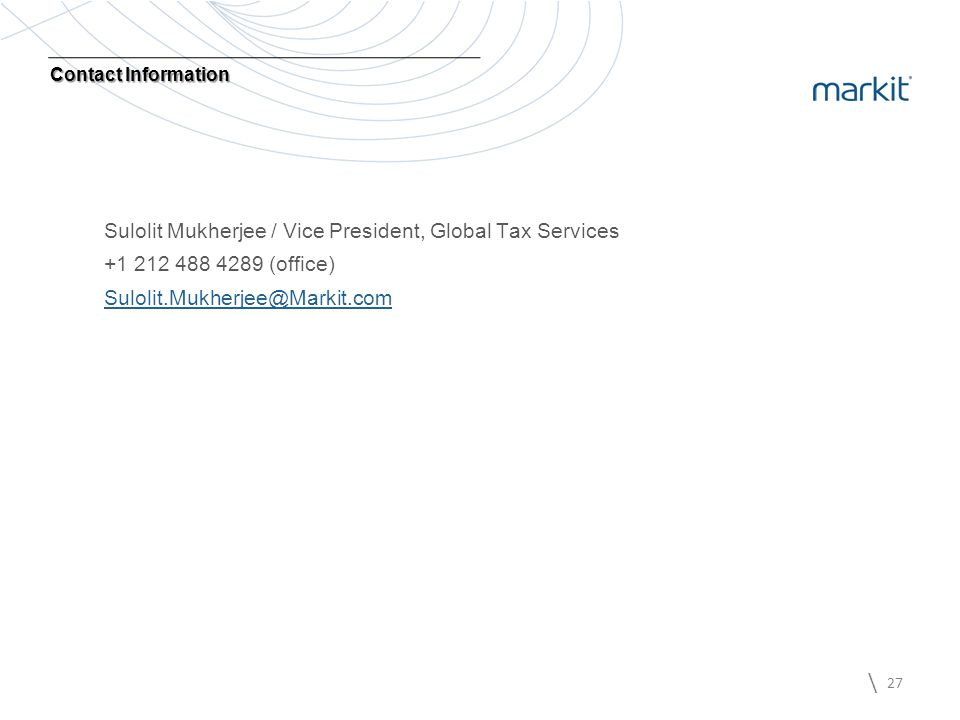 Sulolit Mukherjee / Vice President, Global Tax Services
