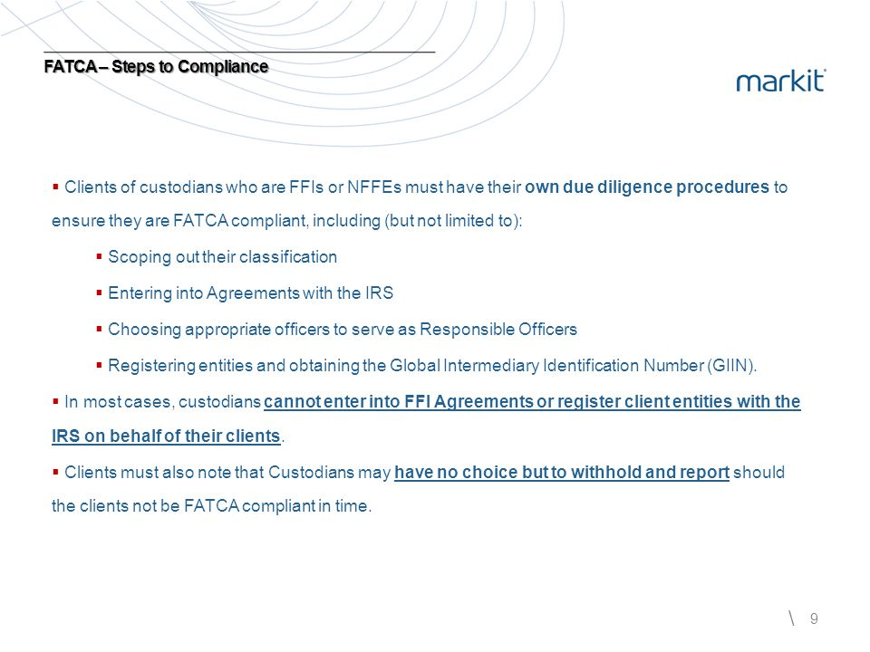 FATCA – Steps to Compliance