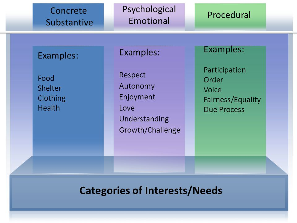Categories of Interests/Needs