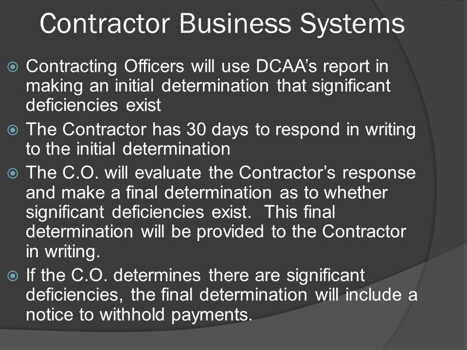 Contractor Business Systems