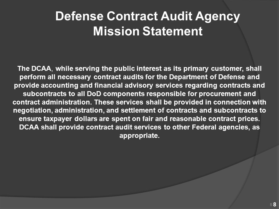 Defense Contract Audit Agency Mission Statement