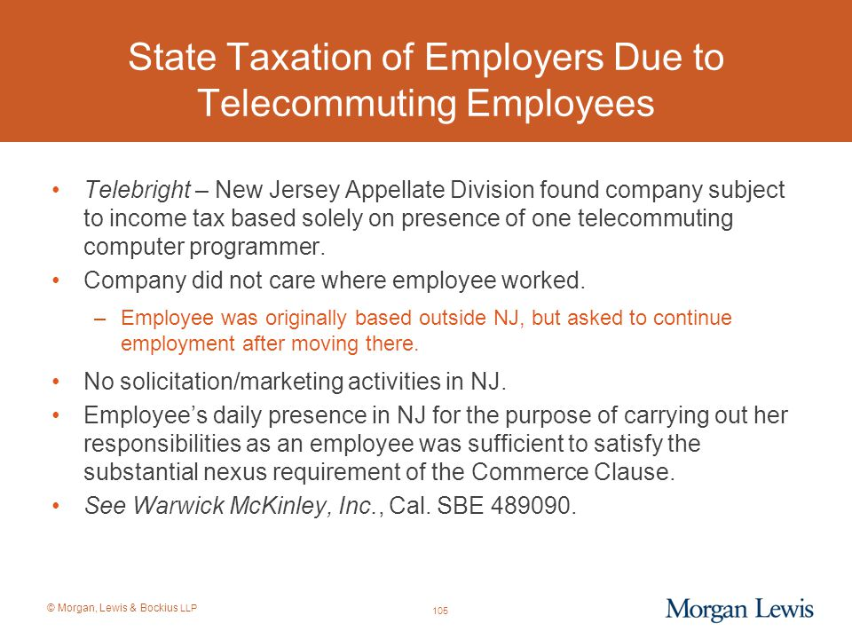 State Taxation of Employers Due to Telecommuting Employees