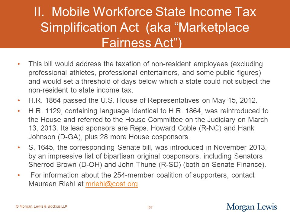 II. Mobile Workforce State Income Tax Simplification Act (aka Marketplace Fairness Act )